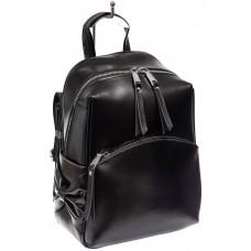 На фото 1 - Женский рюкзак трансформер из натуральной кожи, цвет черный