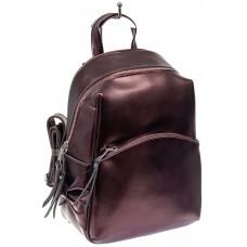 На фото 1 - Женский рюкзак трансформер из натуральной кожи, цвет винный