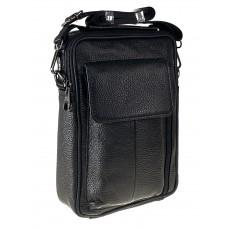 На фото 1 - Мужской кожаный слинг для документов, цвет чёрный