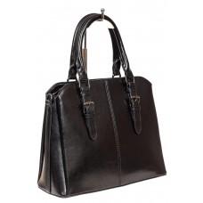 На фото 1 - Каркасная женская сумка из натуральной кожи, цвет чёрный
