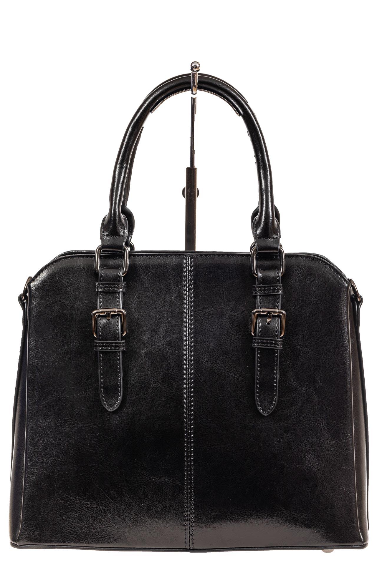 На фото 2 - Каркасная женская сумка из натуральной кожи, цвет чёрный