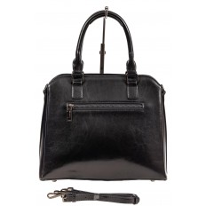 На фото 3 - Каркасная женская сумка из натуральной кожи, цвет чёрный