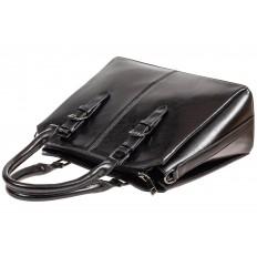 На фото 4 - Каркасная женская сумка из натуральной кожи, цвет чёрный