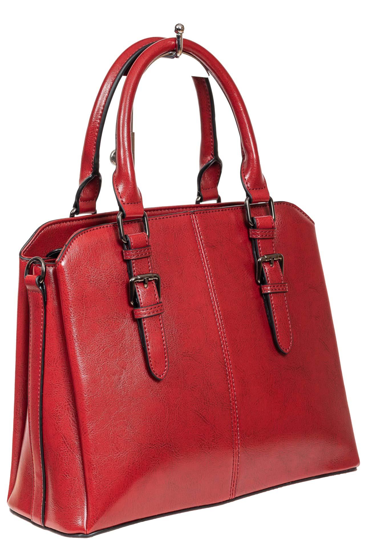 На фото 1 - Каркасная женская сумка из натуральной кожи, цвет красный