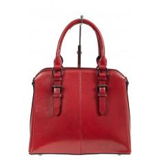На фото 2 - Каркасная женская сумка из натуральной кожи, цвет красный
