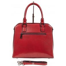 На фото 3 - Каркасная женская сумка из натуральной кожи, цвет красный