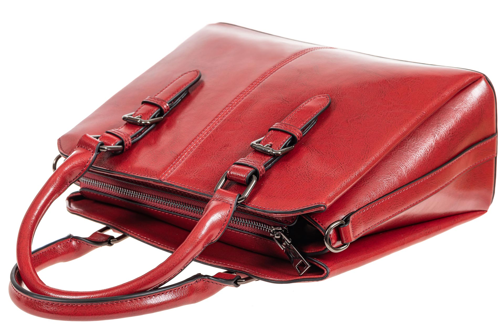 На фото 4 - Каркасная женская сумка из натуральной кожи, цвет красный