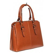 На фото 1 - Каркасная женская сумка из натуральной кожи, цвет рыжий