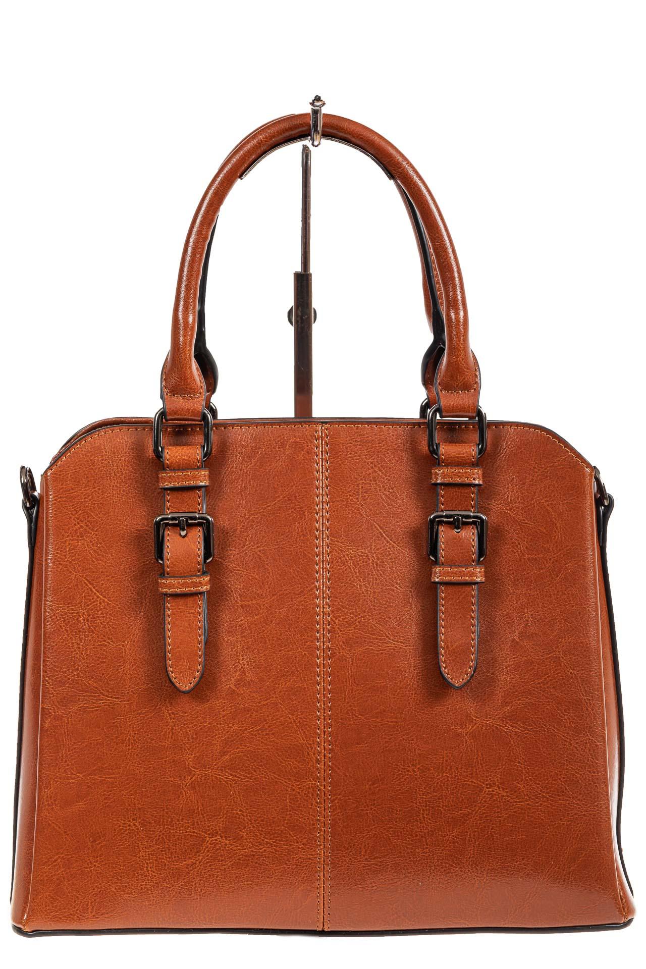 На фото 2 - Каркасная женская сумка из натуральной кожи, цвет рыжий
