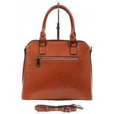 На фото 3 - Каркасная женская сумка из натуральной кожи, цвет рыжий