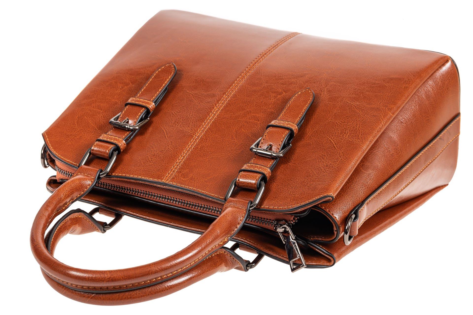 На фото 4 - Каркасная женская сумка из натуральной кожи, цвет рыжий