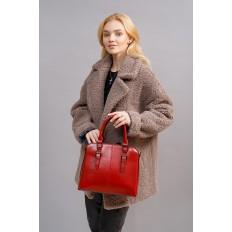 На фото 5 - Каркасная женская сумка из натуральной кожи, цвет рыжий