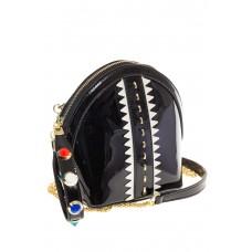 Лаковая кросс-боди черного цвета 9063 на фото