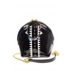 На фото 2 - Лаковая кросс-боди черного цвета 9063
