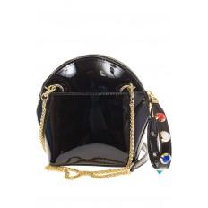 На фото 3 - Лаковая кросс-боди черного цвета 9063