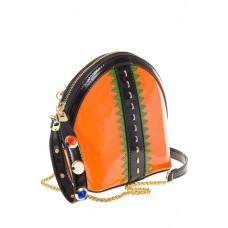 Для опта- лаковая кросс-боди оранжевого цвета 9063