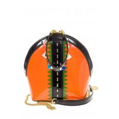 На фото 2 - Лаковая кросс-боди оранжевого цвета 9063