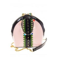 На фото 2 - Лаковая кросс-боди розового цвета 9063