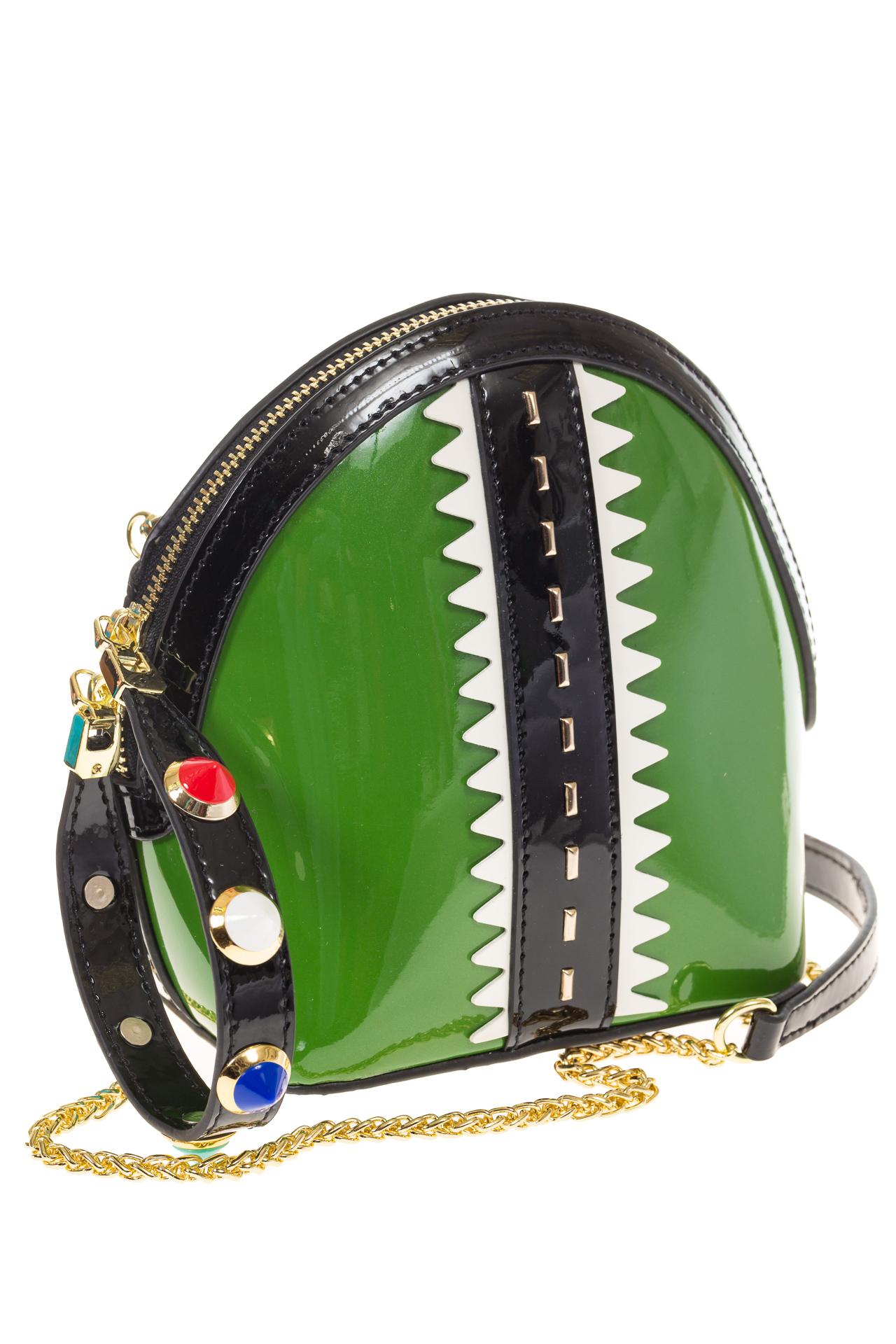 Лаковая кросс-боди зеленого цвета 9063 на фотографии