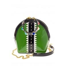 На фото 2 - Лаковая кросс-боди зеленого цвета 9063