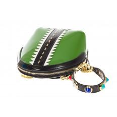 На фото 4 - Лаковая кросс-боди зеленого цвета 9063