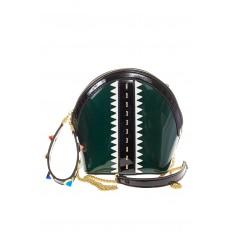 На фото 2 - Лаковая кросс-боди изумрудного цвета 9063