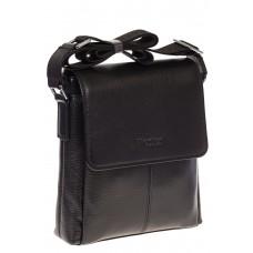 На фото мини-почтальонка для мужчин черного цвета из натуральной кожи, купить оптом в магазине Грета