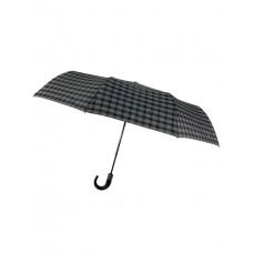 На фото 1 - Мужской зонт-автомат с клетчатым принтом, цвет чёрный
