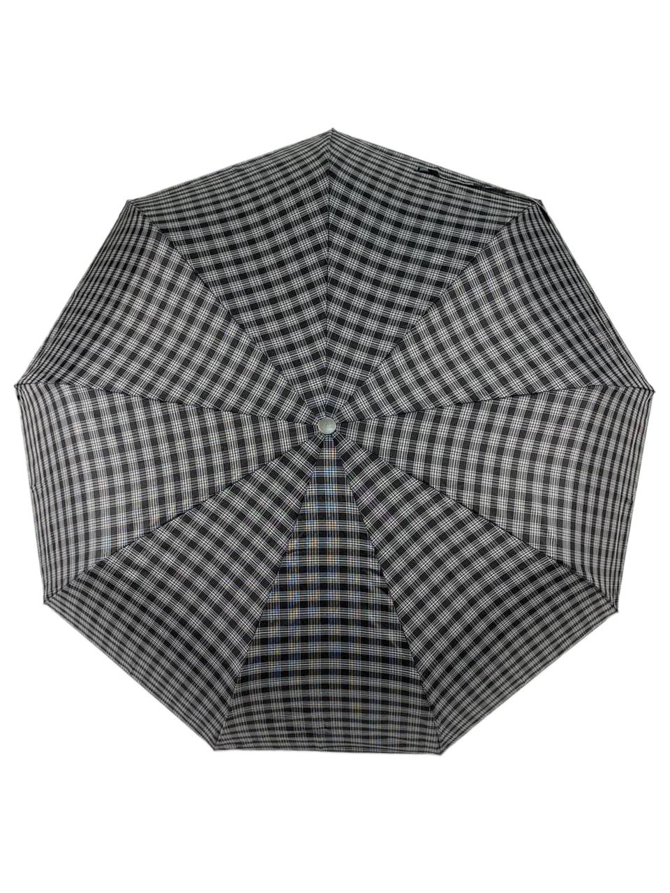 На фото 2 - Мужской зонт-автомат с клетчатым принтом, цвет чёрный