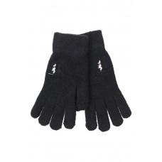 На фото 1 - Шерстяные женские перчатки с вышивкой, цвет чёрный