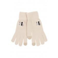 На фото 1 - Шерстяные женские перчатки с вышивкой, цвет молочный