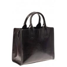 На фото 1 - Женская сумка тоут из натуральной кожи, цвет черный