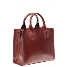 На фото 1 - Женская сумка тоут из натуральной кожи, цвет бордовый