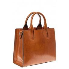 На фото 1 - Женская сумка тоут из натуральной кожи, цвет рыжий