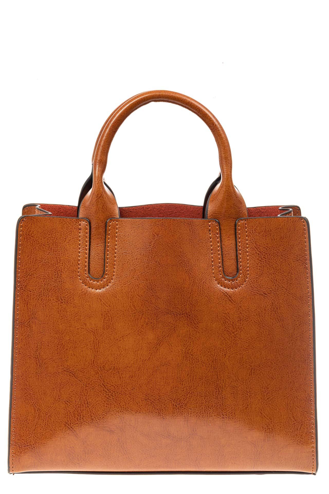 На фото 2 - Женская сумка тоут из натуральной кожи, цвет рыжий