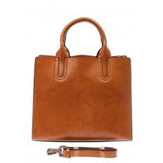 На фото 3 - Женская сумка тоут из натуральной кожи, цвет рыжий