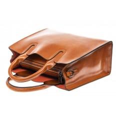 На фото 4 - Женская сумка тоут из натуральной кожи, цвет рыжий