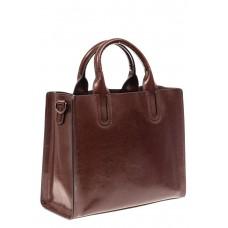 На фото 1 - Женская сумка тоут из натуральной кожи, цвет шоколад