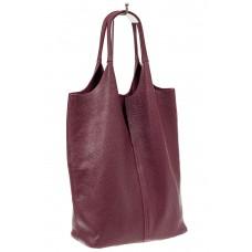 На фото 1 - Сумка женская, мешок из натуральной кожи, цвет фиолетовый баклажан