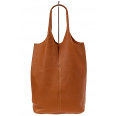 На фото 2 - Сумка женская, мешок из натуральной кожи, цвет рыжий