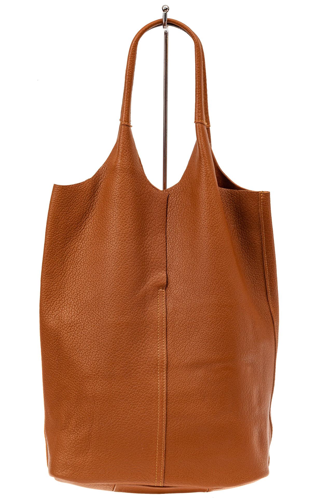 На фото 3 - Сумка женская, мешок из натуральной кожи, цвет рыжий