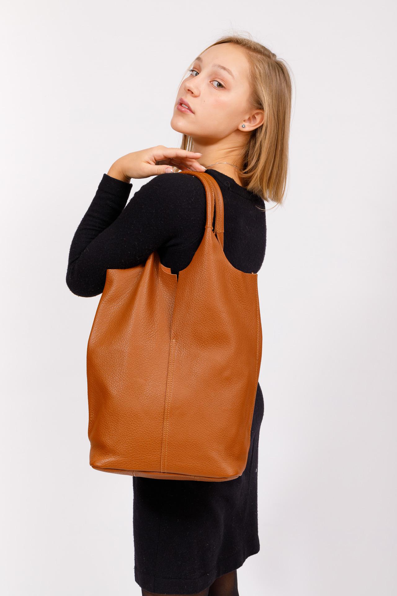 На фото 5 - Сумка женская, мешок из натуральной кожи, цвет рыжий