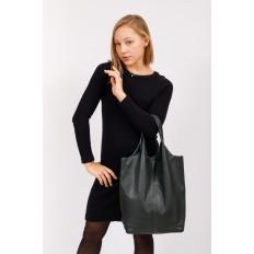 На фото 5 - Сумка женская, мешок из натуральной кожи, цвет зеленый