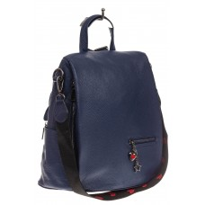 На фото 1 - Сумка-рюкзак из натуральной кожи, цвет синий