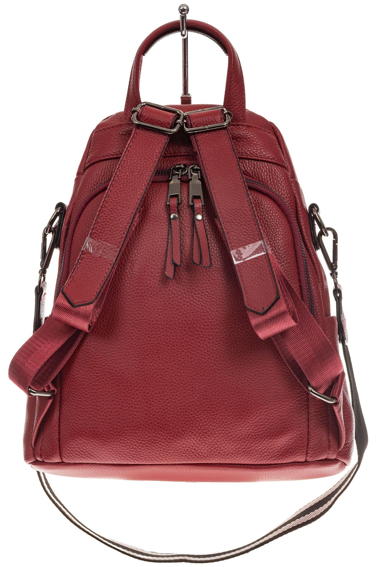 На фото 3 - Женский рюкзак из натуральной кожи, цвет красный