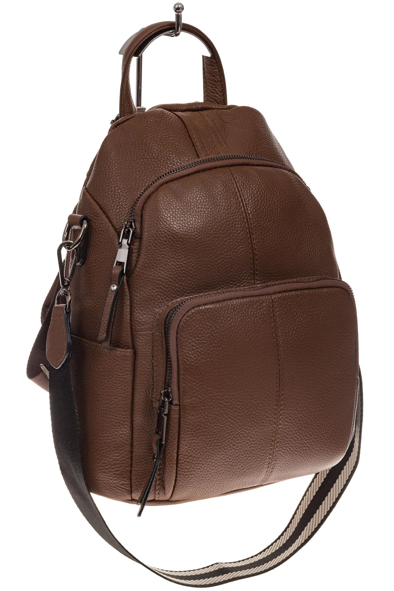 На фото 1 - Женский рюкзак из натуральной кожи, цвет коричневый