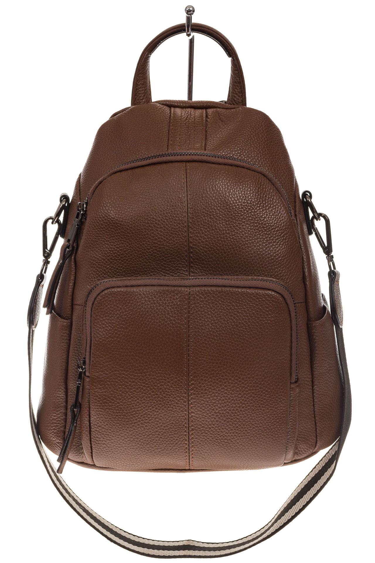На фото 2 - Женский рюкзак из натуральной кожи, цвет коричневый