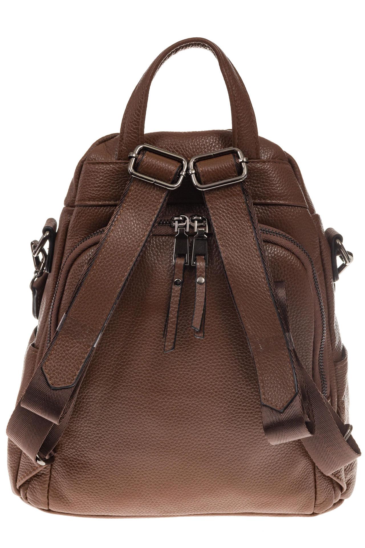 На фото 3 - Женский рюкзак из натуральной кожи, цвет коричневый