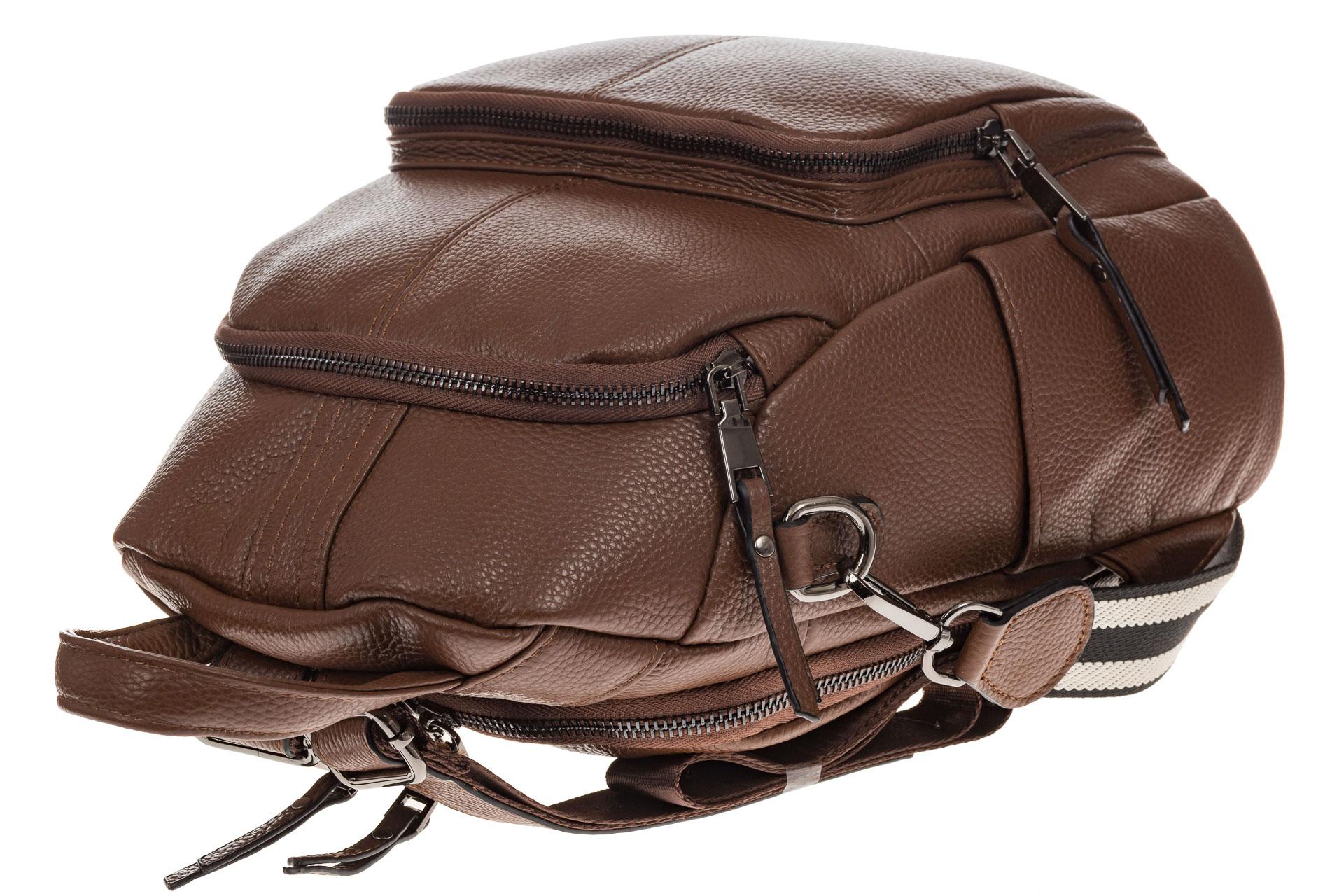 На фото 4 - Женский рюкзак из натуральной кожи, цвет коричневый