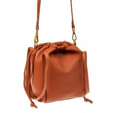 На фото 1 - Сумка женская торба из натуральной кожи, цвет рыжий